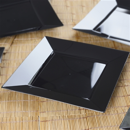 "10 Pack - Black 9.5"" Square Disposable Plate - Chambury Plastics"