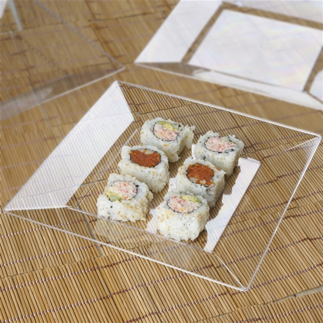 10 Pack - Clear 9.5  Square Disposable Plate - Chambury Plastics & Get Cheap Square Disposable Plates in Bulk