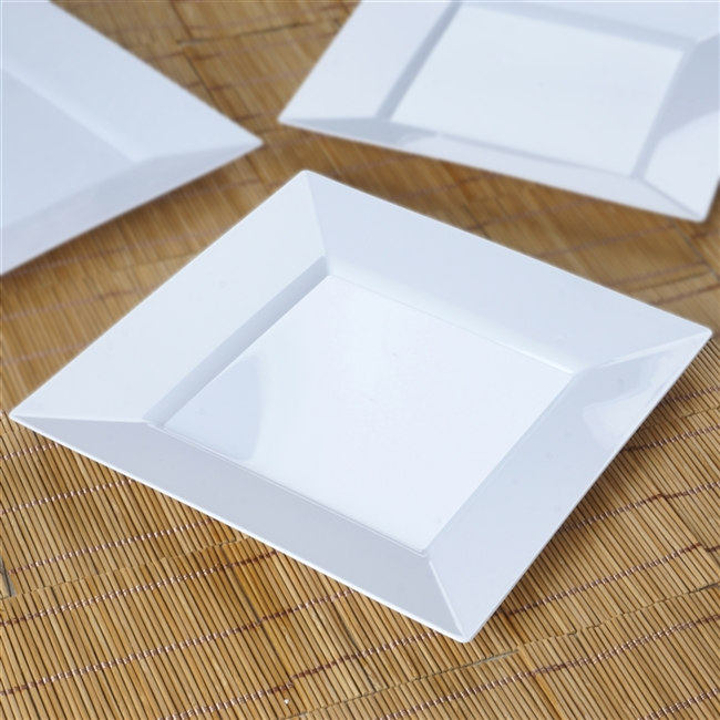 10 Pack - White 9.5  Square Disposable Plate - Chambury Plastics & Get Cheap Square Disposable Plates in Bulk