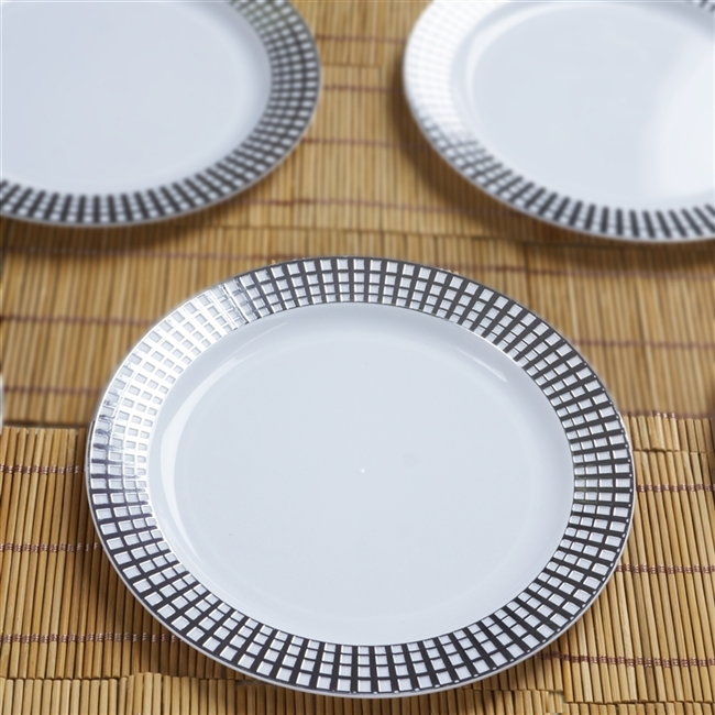 10 Pack - White w/ Silver 7.5  Hot St&ed Round Disposable Plate - Chambury : white disposable plates - Pezcame.Com