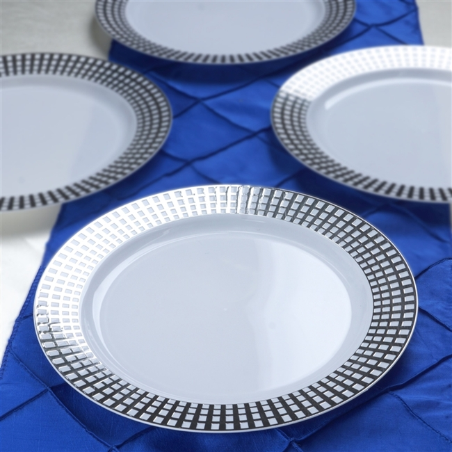10 Pack - White w/ Silver 10  Hot St&ed Round Disposable Plate - Chambury & Buy Round Disposable Plates at Discounted Price