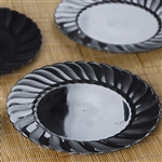 "12 Pack - Black 10.25"" Flaired Round Disposable Plate - Chambury Plastics"