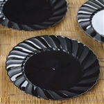 "12 Pack - Black 7.5"" Flaired Round Disposable Plate - Chambury Plastics"