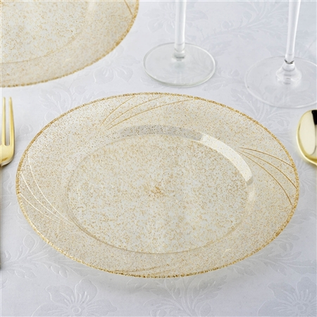 "9"" Shiny Gold Dust Disposable Round Plates Wedding Event Kitchen Dinnerware - Set of 12"