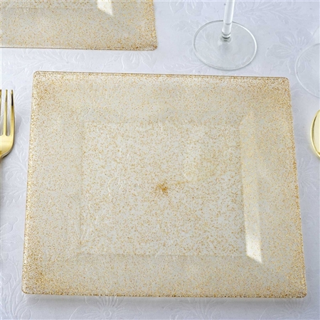 "10"" Shiny Gold Dust Disposable Plates Wedding Event Kitchen Dinnerware - Pack of 12"