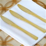 Metallic Gold Disposable Plastic Knife for Wedding Party Event Dinnerware - Pack of 25