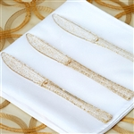 Gold Glittered Disposable Plastic Knife for Wedding Party Event Dinnerware - Pack of 25