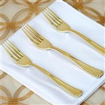 Metallic Gold Disposable Plastic Fork for Wedding Dinnerware - Pack of 25