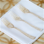 Gold Glittered Disposable Plastic Fork for Wedding Dinnerware - Pack of 25