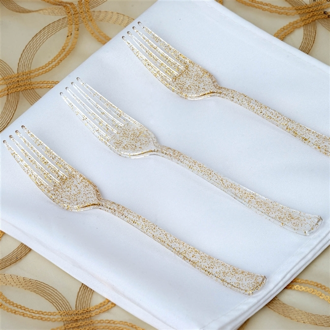Gold Glittered Disposable Plastic Fork for Wedding Dinnerware - Pack of 25 : disposable wedding dinnerware - pezcame.com