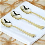 Metallic Gold Disposable Plastic Spoon for Wedding Party Event Dinnerware - Pack of 25