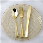 Metallic Gold Disposable Plastic Cutlery Set for Wedding Party Dinnerware - Pack of 24