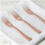 Wholesale Rose Gold Metallic Disposable Plastic Fork for Wedding Dinnerware - Pack of 36