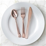 Wholesale Rose Gold Metallic Disposable Plastic Cutlery for Wedding Dinnerware Set - Pack of 30