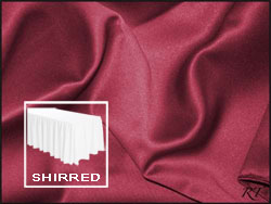Premium Matt Satin Lamour Shirred Table Skirt - 6FT  (3 Sides Covered) - 11FT Section