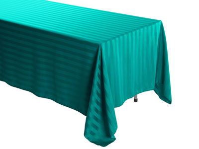 "72"" x 120"" Rectangular Polyester Stripe Tablecloth"