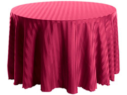 "132"" Round Polyester Stripe Tablecloth"