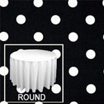 "Rental Premium Polka Dot 132"" Round Tablecloth"
