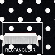 "Rental Premium Polka Dot 60"" x 120"" Rectangular Tablecloth - Square Corners"
