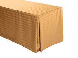 "4FT Premium Polyester Stripe Rectangular Fitted Tablecloth 30""x48""x29"" with Inverted Pleates"