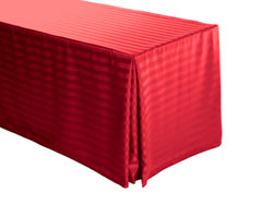 "5FT Premium Polyester Stripe Rectangular Fitted Tablecloth 30""x60""x29"" with Inverted Pleates"