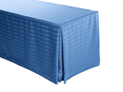 "6FT Premium Polyester Stripe Rectangular Fitted Tablecloth 30""x72""x29"" with Inverted Pleates"