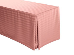 "8FT Premium Polyester Stripe Rectangular Fitted Tablecloth 30""x96""x29"" with Inverted Pleates"
