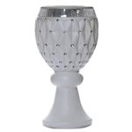 "21""x 9.5"" 10mm Crystal Studded White French Style Decorative Floral Plant Stand Pot Set – Pack of 4"