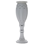 "30.75"" x 9"" 10mm Crystal Studded Italian Inspired Decorative Wedding Party Floral Plant Stand Pot in White - Pack of 4"
