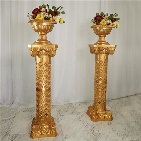 "41"" Tall Gold Venetian Artistic Roman Party Columns Plant Stand - 4PCS"