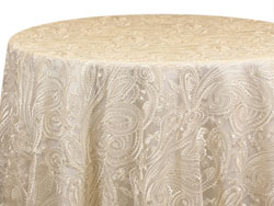 "Rental 120"" Paisley Lace Round Tablecloth"