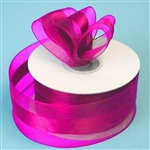 "10 Yards 1.5"" DIY Fushia Satin Center Ribbon"
