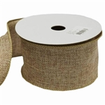 "10 Yards 2.5"" Natural Tone Burlap Wired Ribbon"