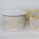 "10 Yards 2.5"" DIY Natural Gracefully Floral Lace Stitched Burlap Ribbon"
