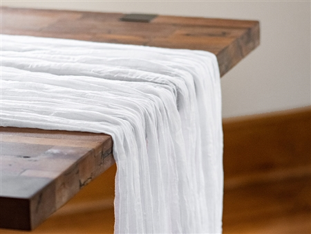 "Rental 50"" x 180"" White Premium Cheesecloth Table Runner"