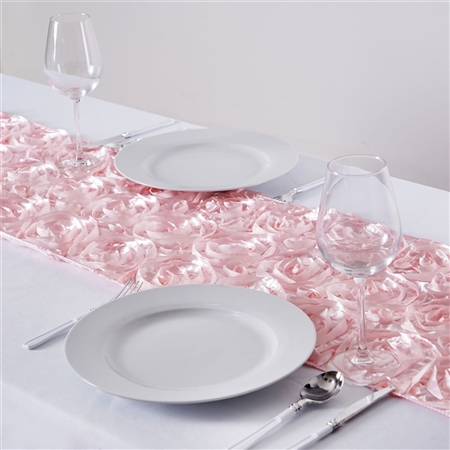 "14""x 108"" Grandiose Rosette Blush Satin Runner for Table Top Wedding Party Decorations"