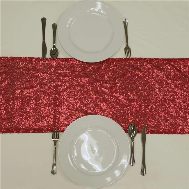 stunning duchess sequin table runners red
