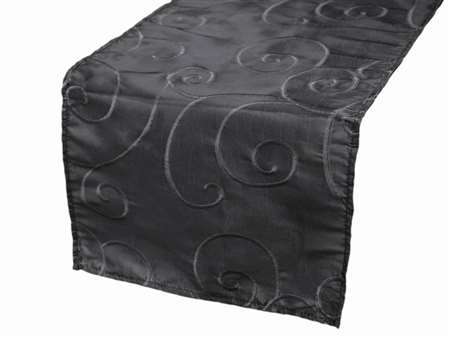 Bienvenue Swirls Table Runners – Black