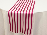 Lovable Satin Stripes Table Runner - White / Fushia
