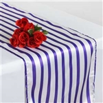 Lovable Satin Stripes Table Runner - White / Purple