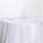 "12""x108"" Stripe Satin Table Runner - Blush/Rose Gold & White"