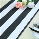"12""x108"" Stripe Satin Table Runner - Black & White"