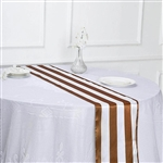 "12""x108"" Stripe Satin Table Runner - Gold & White"