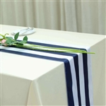 "12""x108"" Stripe Satin Table Runner - Navy & White"