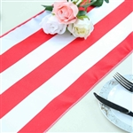 "12""x108"" Stripe Satin Table Runner - Red & White"