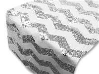 Chevron Sequin Table Runners - Silver