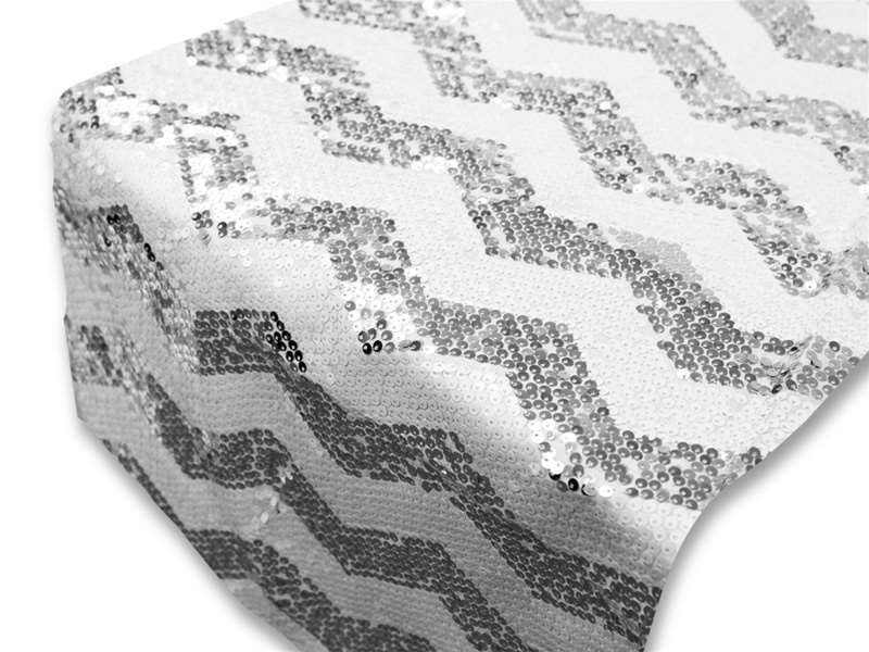 Chevron Sequin Table Runners U2013 Silver