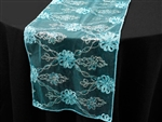 Extravagant Fashionista Style Table Runner - Turquoise Lace Netting