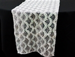 Symphonic Mermaid Scales Sequined Table Runner White
