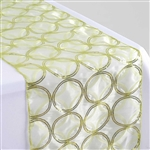 "108x12"" Tea Green Sequin Circle Designs Table Runners"
